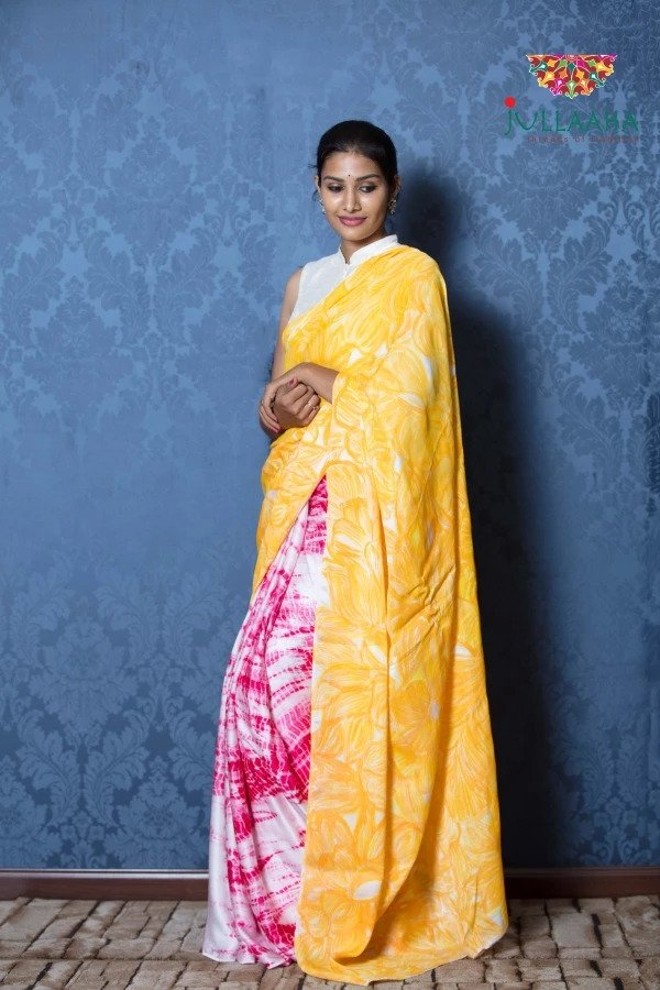 Exquisite Pink with Yellow Hand Painted Batik on Satin Silk -to bring out the timeless look in you