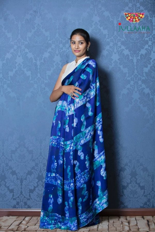 Exquisite Blue Hand Painted Batik on Satin Silk -to bring out the timeless look in you