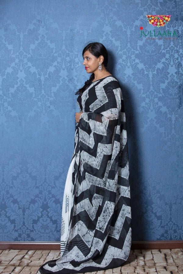 Exquisite Black & White Zig-Zag Hand Painted Batik on Georgette -to bring out the timeless look in you