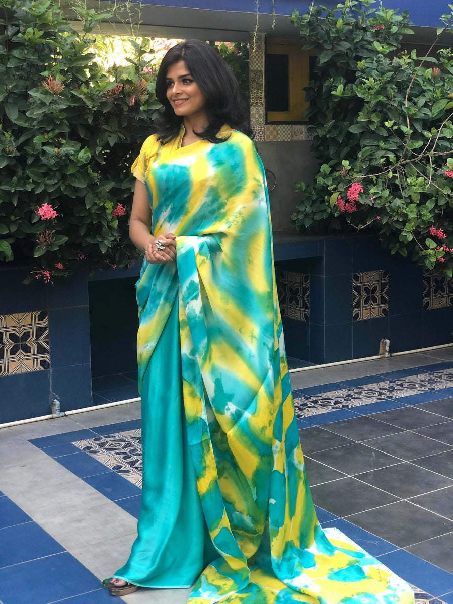 Exquisite Sea Green & Lemon Hand Painted Batik on Satin Silk -to bring out the timeless look in you