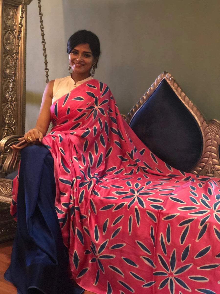 Exquisite Navy Blue with Pink Hand Painted Batik on Satin Silk -to bring out the timeless look in you