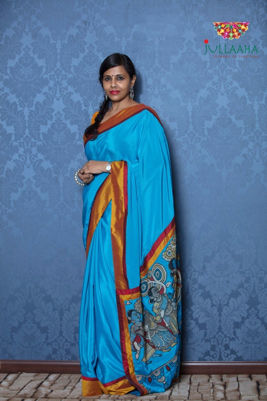 Crepe Silk Kalamkari Saree - Blue