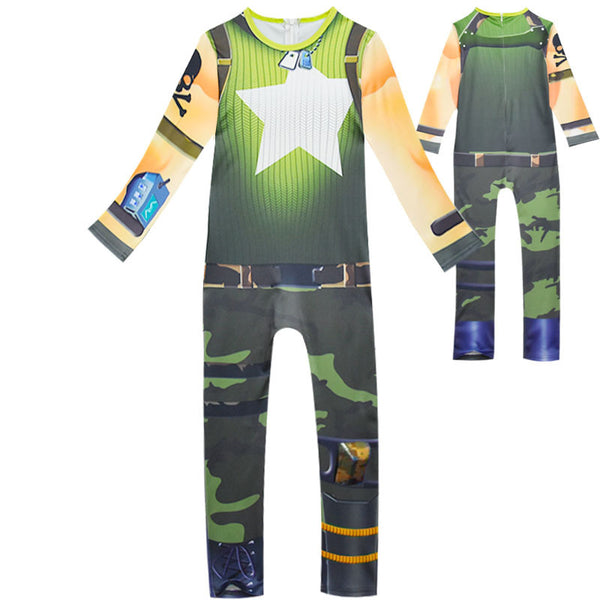 Kids Munitions Expert Costume Fortnite Girls Green Jumpsuit Halloween Costume Party