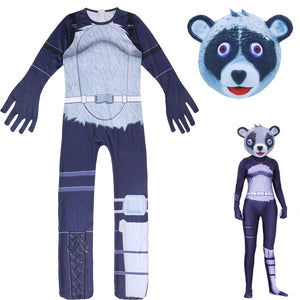 Kids P.A.N.D.A. Team Leader Costume Fortnite Ice Silk Jumpsuit Halloween Costume Party