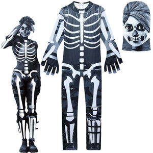 Kids Skull Ranger Costume Girls Fortnite Jumpsuit Costume Party