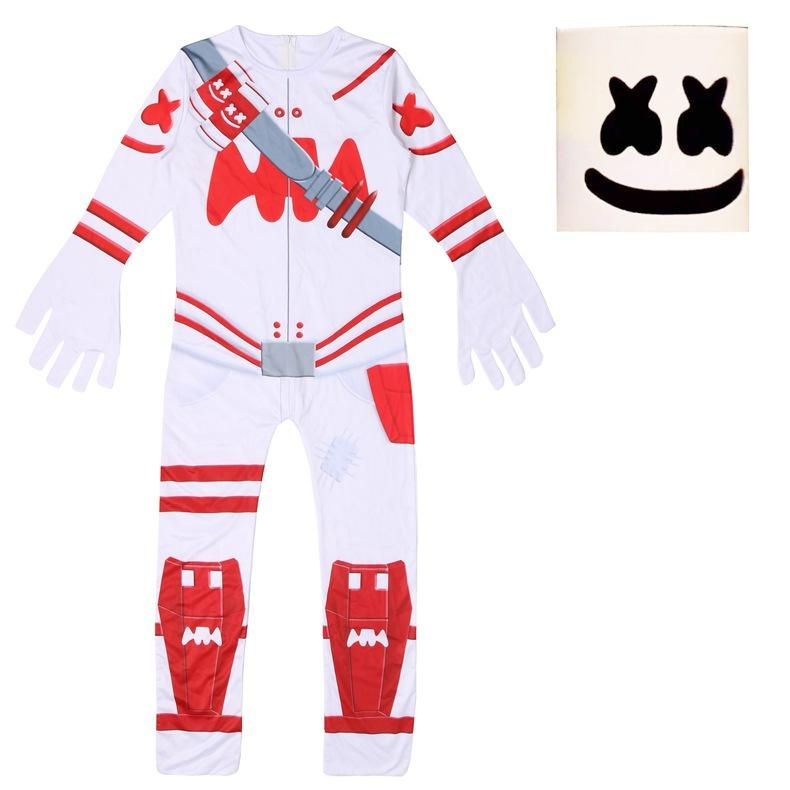 Kids DJ Marshmello Fortnite Costume White And Red Jumpsuit with Latex Mask