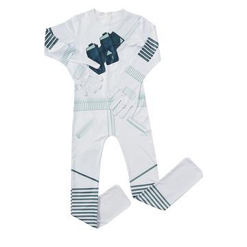 Kids Marshmello White Costume One-Piece Jumpsuit with Latex Mask and Gloves