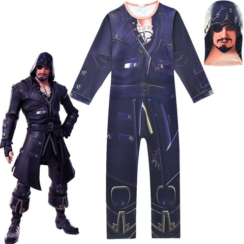 Kids Blackheart Costume Fortnite Battle Pass Season 8 Jumpsuit with Mask