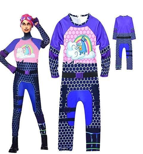 Kids Brite Bomber Costume Fortnite Blue Jumpsuit Halloween Costume Party