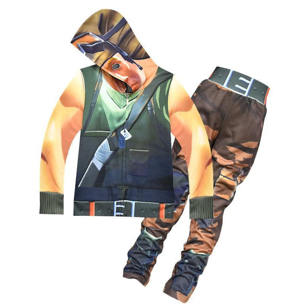 Kids Recon Scout Costume Fortnite Hooded Coat And Pants Halloween Costume Party
