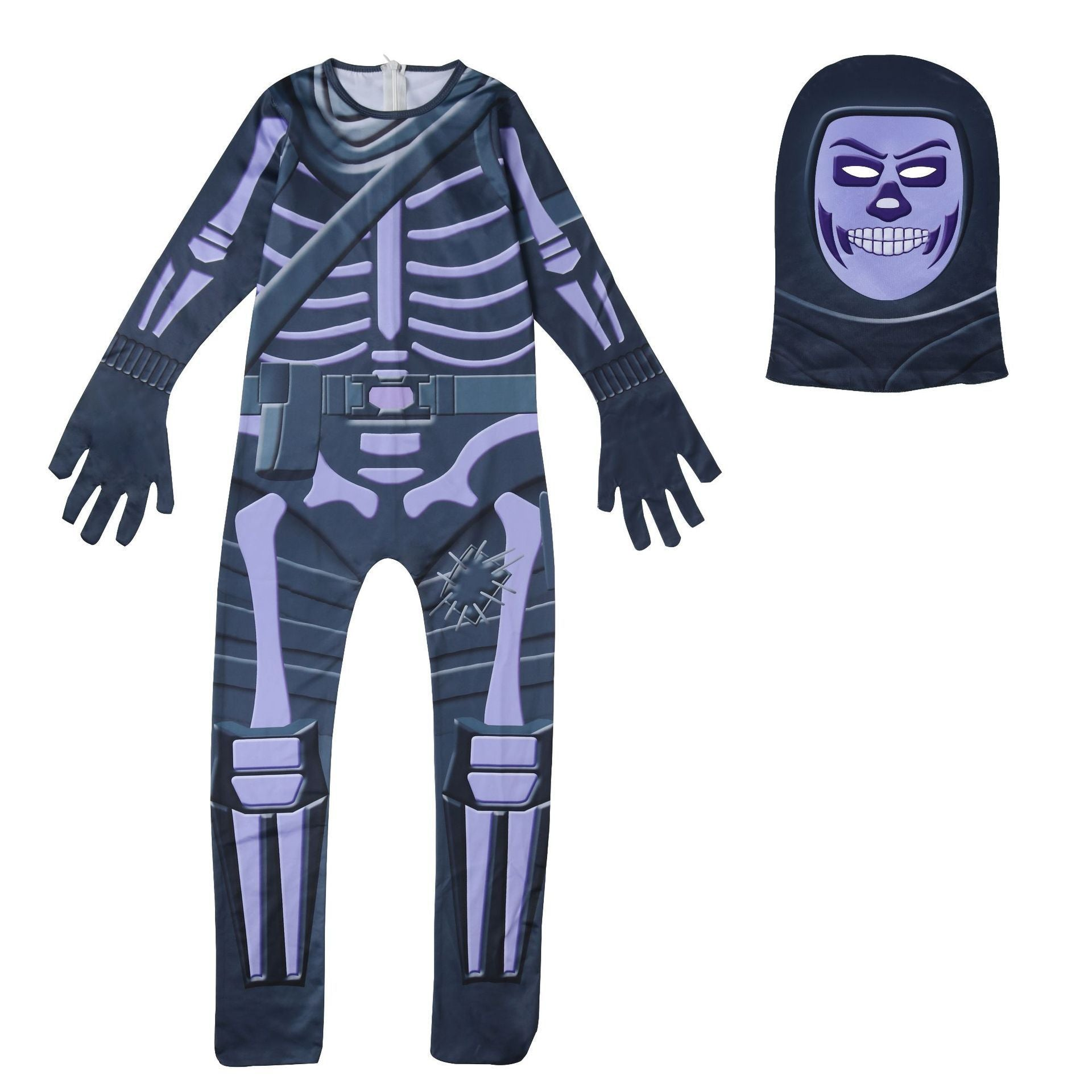Fortnite Purple Skull Trooper Costume Suit Purple Black Jumpsuit for Kids Halloween Supplies