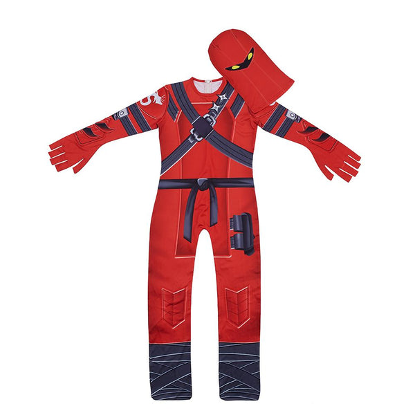 Kids Hybrid Red Costume Fortnite Battle Pass Season 8 Red Ice Silk Jumpsuit with Mask