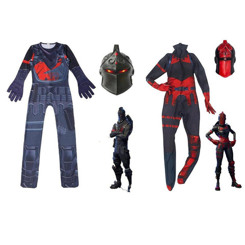 Kids Fortnite Couple Black Knight and Red Knight Costume Fortnite Halloween Jumpsuit with Mask
