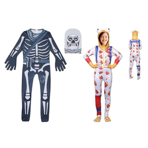 Kids Skull Trooper and Durr Burger Fortnite Couple Costume Jumpsuit with Mask Costume
