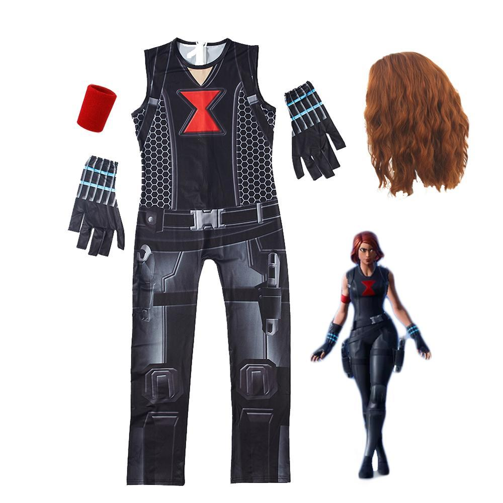 Kids Black Widow Costume Fortnite Jumpsuit With Wig Gloves Halloween Costume Party