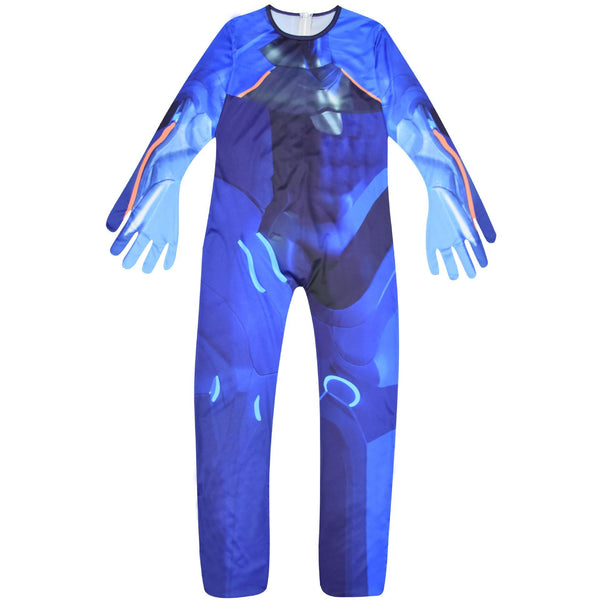 Kids Fortnite Carbide Costume Purple Jumpsuit with Fabric Mask For Halloween Party
