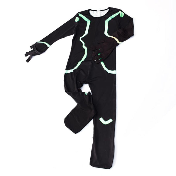 Kids Eternal Voyager Costume Fortnite Black Jumpsuit With Gloves For Halloween Party