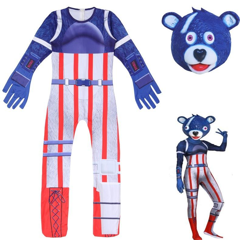 Kids Cuddle Team Leader Costume Fortnite Red Blue Jumpsuit With Mask Halloween Costume Party