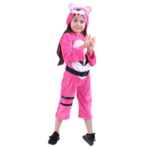 Kids Cuddle Team Leader Pink Fortnite Hooded Jumpsuit Costume for Halloween Party