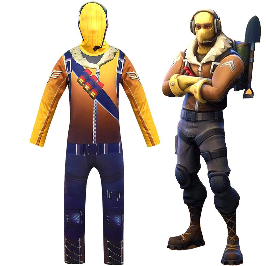 Kids Fortnite Raptor Yellow Jumpsuit Halloween Costume with Mask
