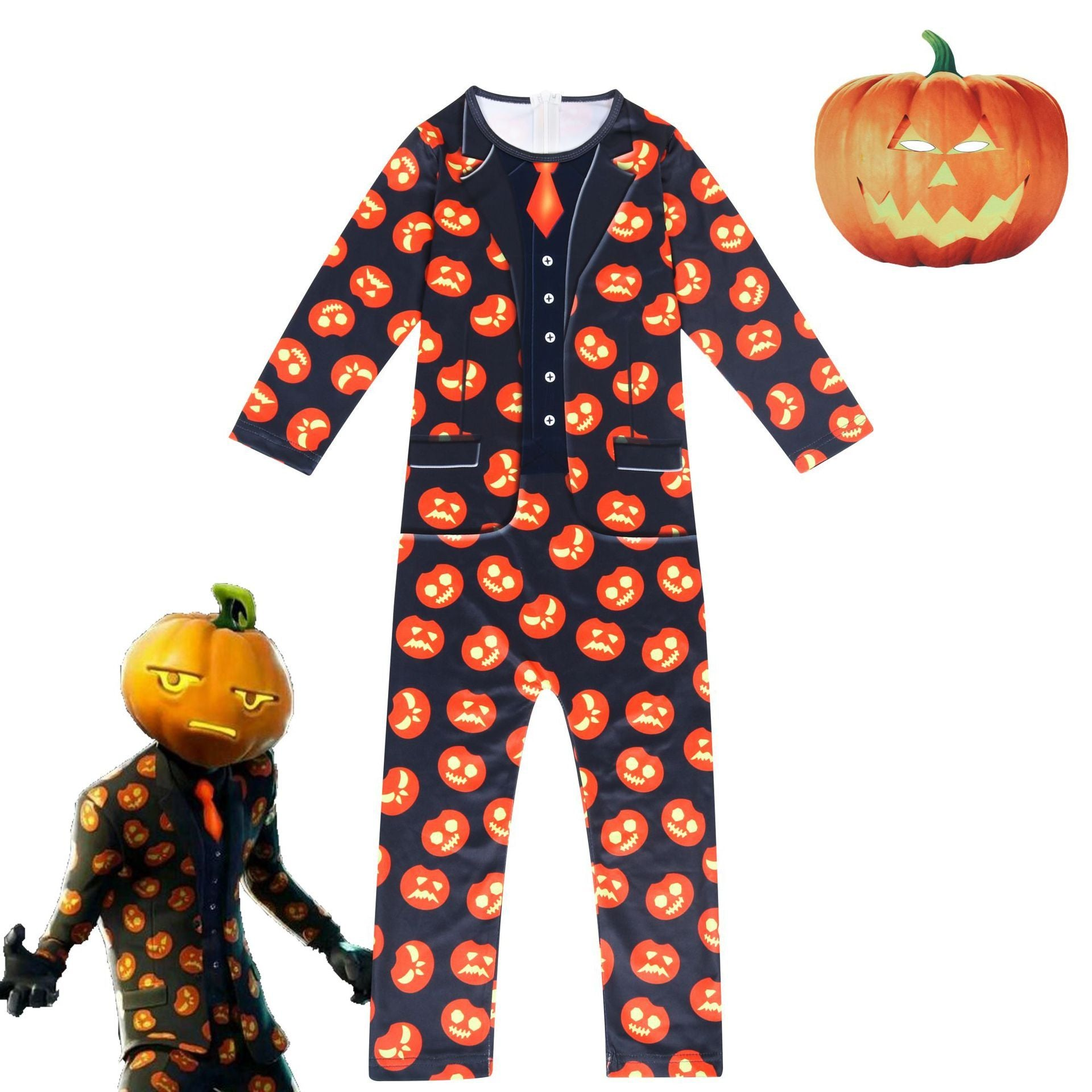 2019 Kids Jack Gourdon Jumpsuit Fortnite Pumpkin Costume Halloween Cosplay