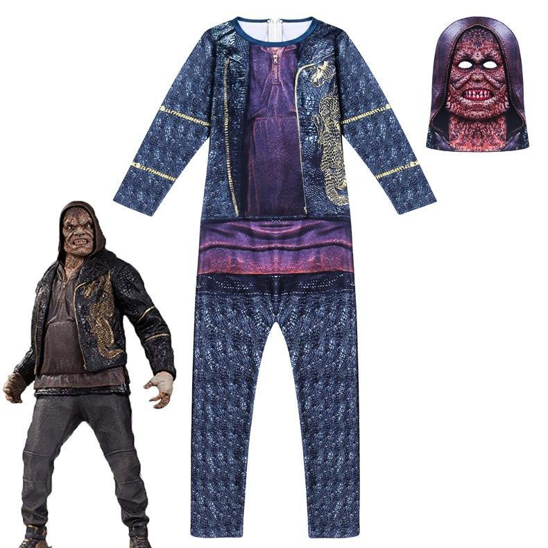 Kids Killer Croc Jumpsuit with Fabric Mask Costume for Halloween Party Costume