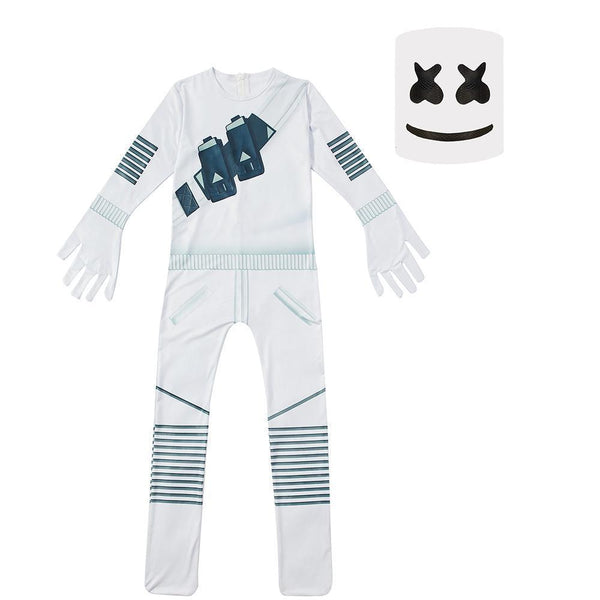 Kids DJ Marshmello Costume Fortnite White Jumpsuit with Latex Mask Glow In Dark