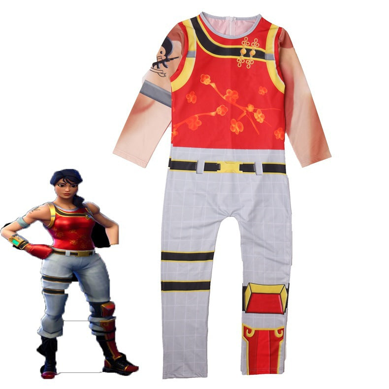 Kids Scarlet Defender Costume Fortnite Jumpsuit Halloween Costume Party