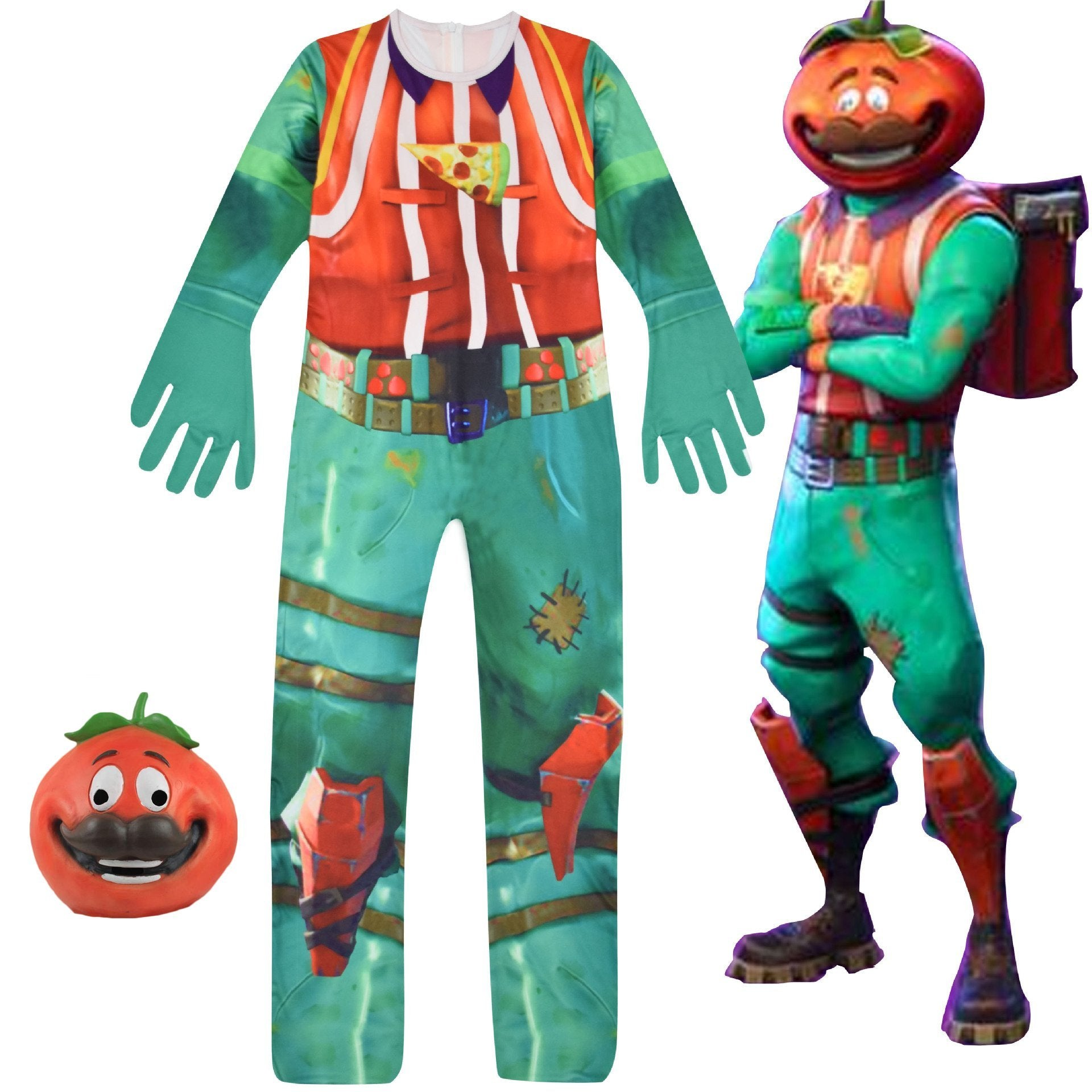 Kids Fortnite Tomatohead Jumpsuit Costume with Mask for Halloween Cosplay