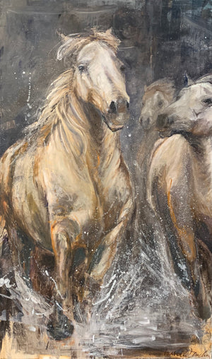 wild horses galloping in water, cam argue horses, white horses, graceful equines