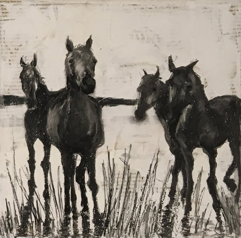 Original painting depicting a soulful herd of wild horses in their natural habitat of the Camargue, France.