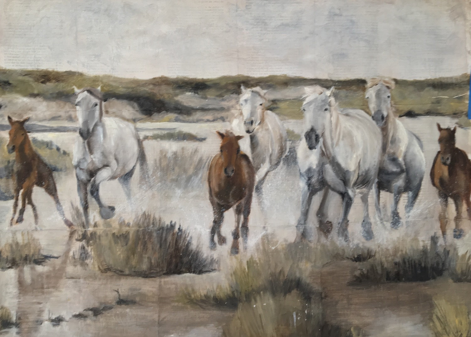 Original mixed media of a herd of Camarguais wild horses galloping in the Camargue region of France.