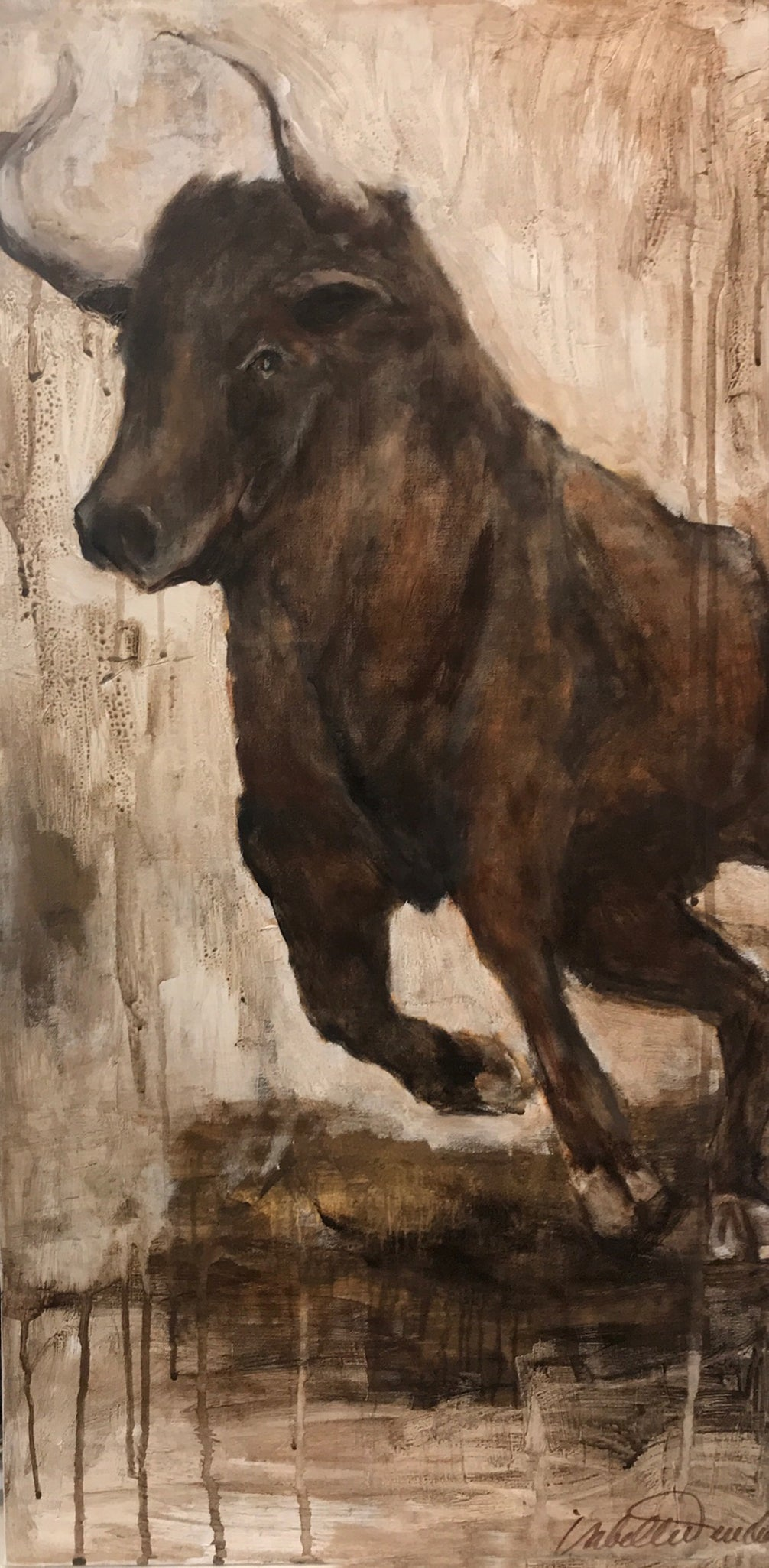 Samson the bull's partner Delilah, in muted natural tones, sweet and full of life. A fantastic piece for a wall and space, perhaps with her pal Samson!
