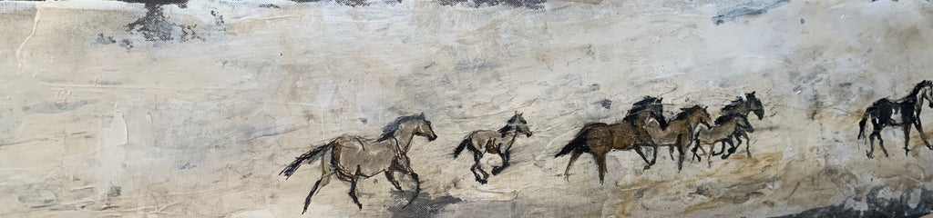 Wild horses galloping in their desert landscape, running away from me once they came aware of my presence in the distance. With their instinct guiding their actions, the herd acts as one. The herd is a strong defender of their space, their habitat, which is sadly under constant threat.