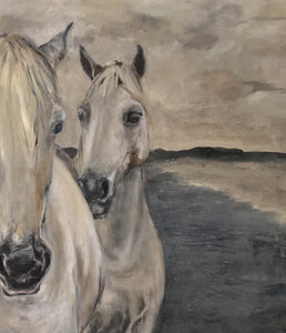 Original oil painting depicting the strong and graceful horses of the Camargue.