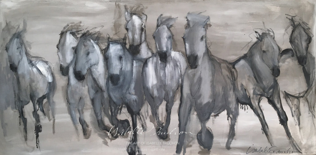 Energetic horse herd from the Camargue region of France in subtle neutrals in cool and warm tones of gray. A showpiece for any wall in your home or office.