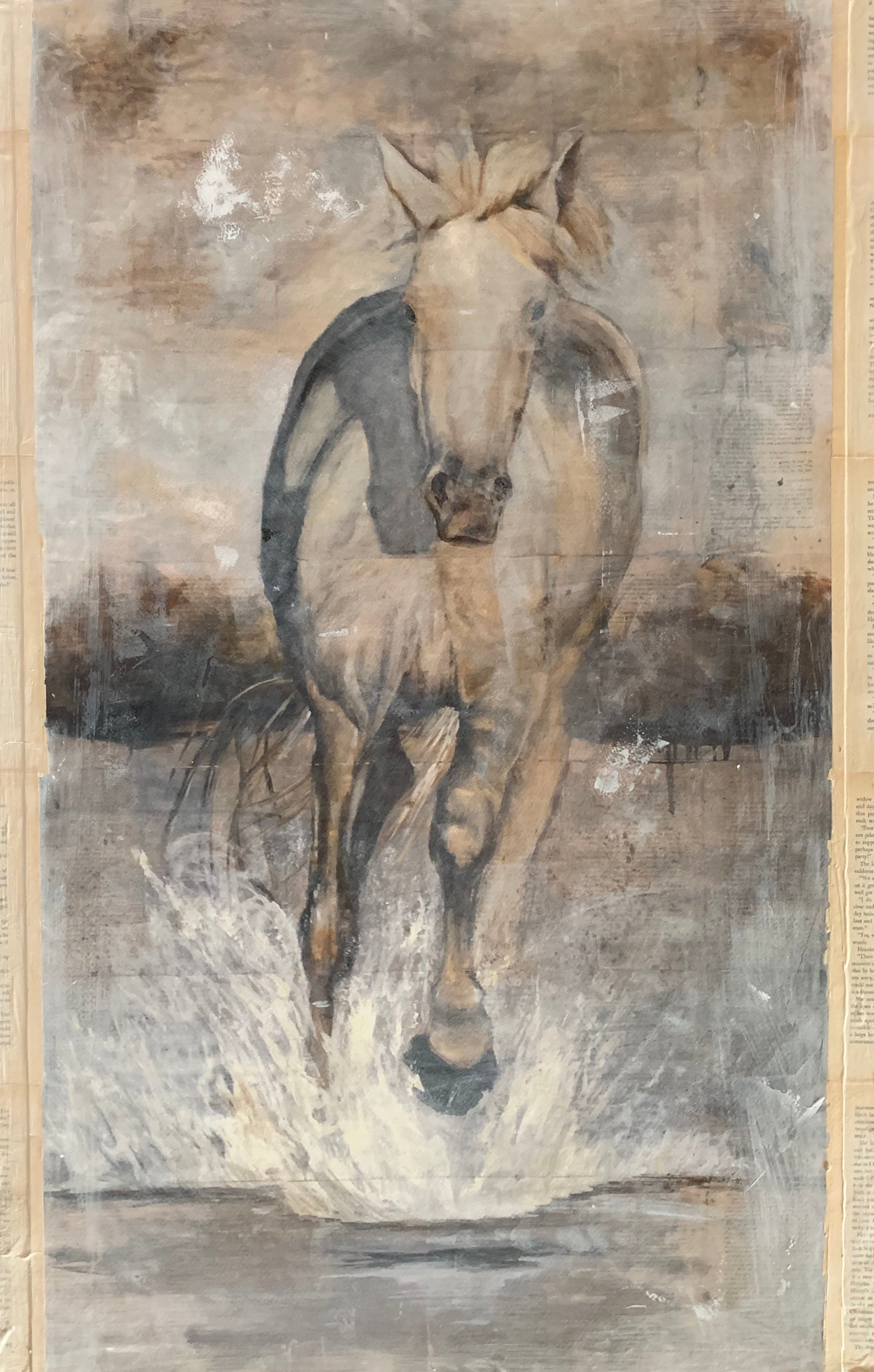 Original retouched print of energetic horse from the Camargue region of France in subtle neutrals of cool and warm tones of gray. A showpiece for any wall in your home or office.