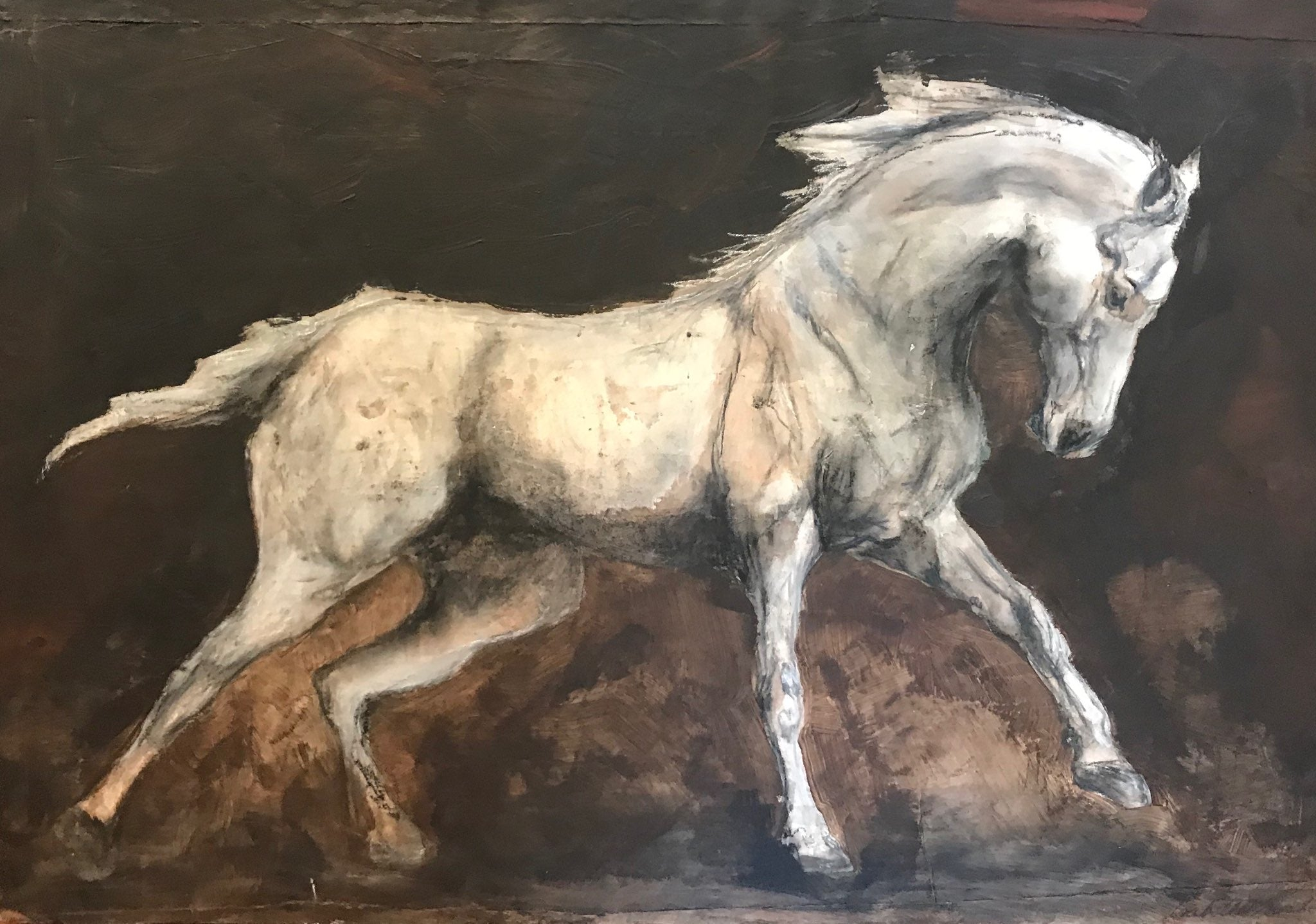 Original mixed media painting of the beautiful wild horse of the Camargue.