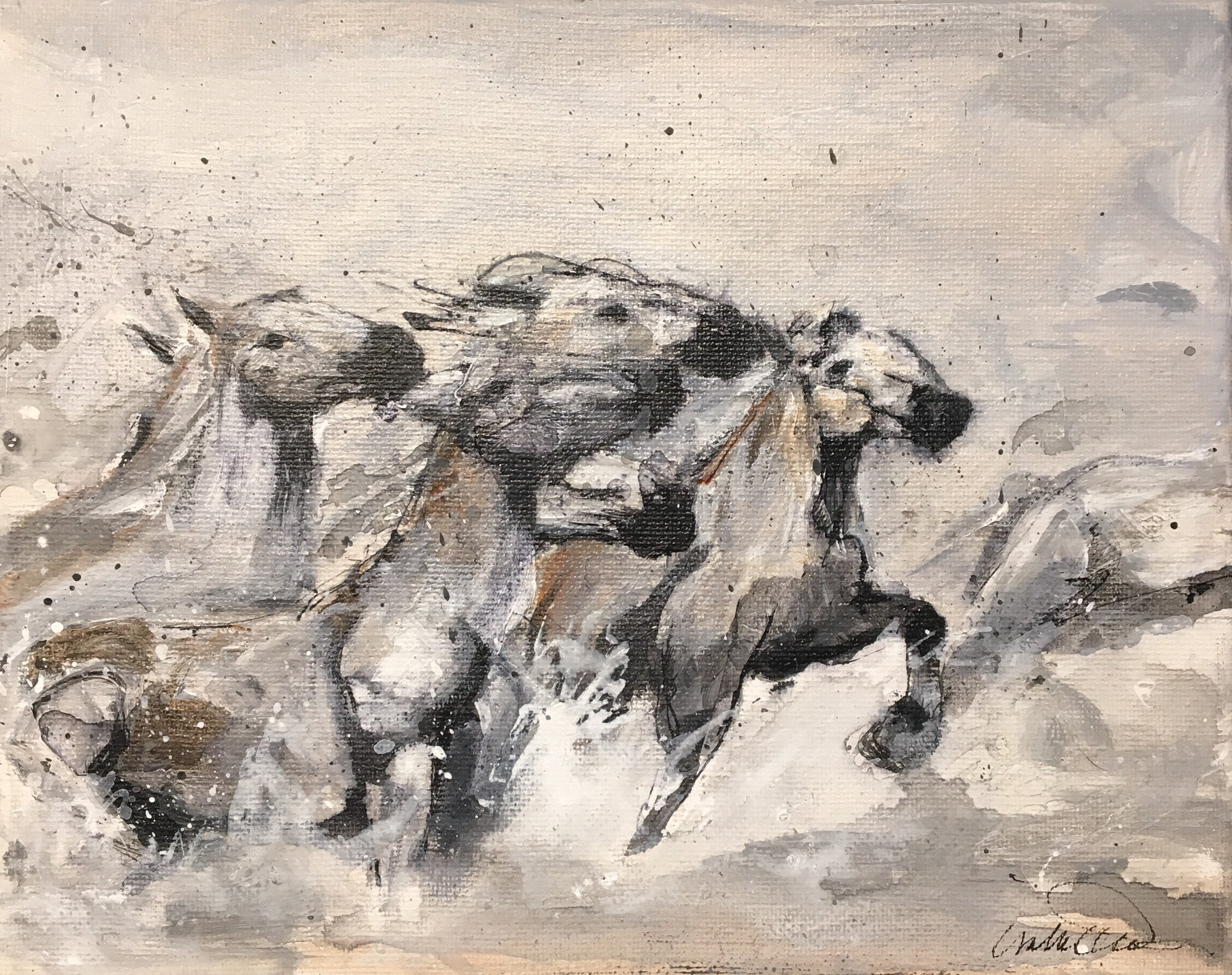 All the White Horses II, retouched original canvas print