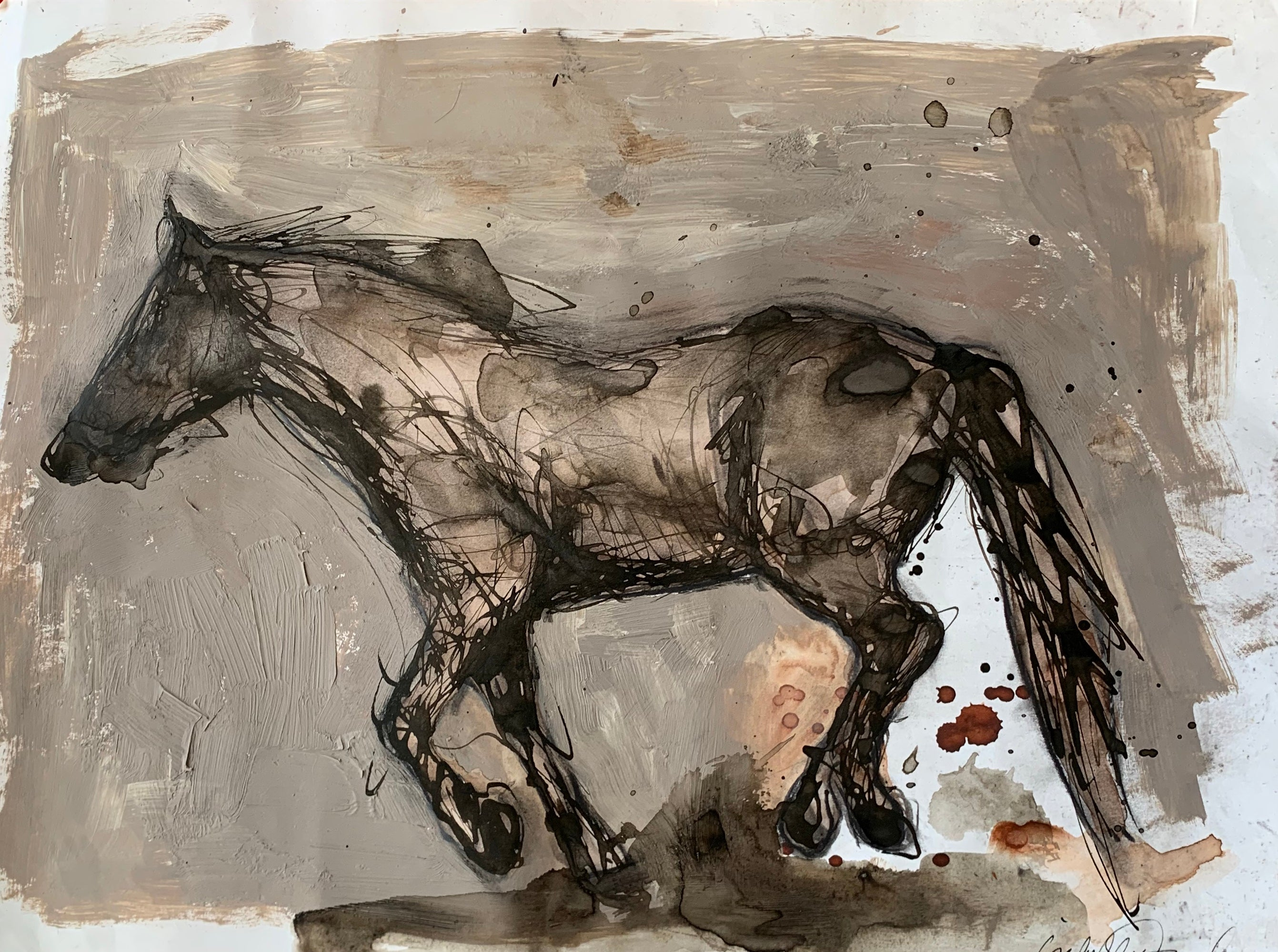 Original ink and Gouache painting of galloping wild horse. Isabelle Truchon art