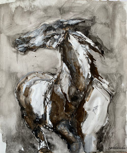 Original ink and gesso painting of galloping wild horse. Isabelle Truchon art