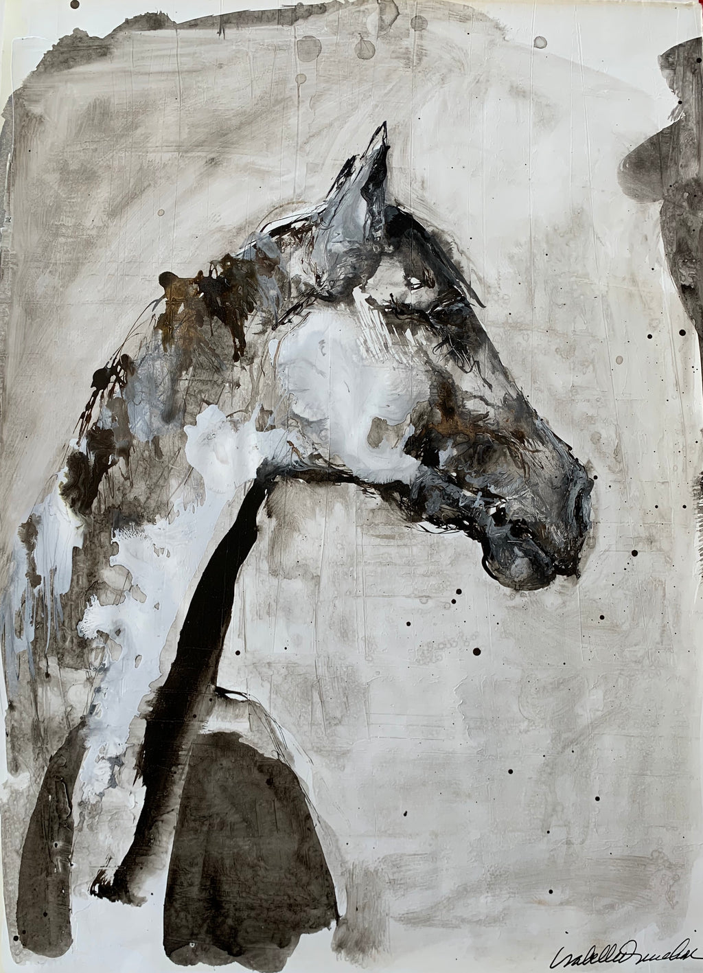 Original ink and gesso painting on paper of gentle horse in profile. Isabelle Truchon