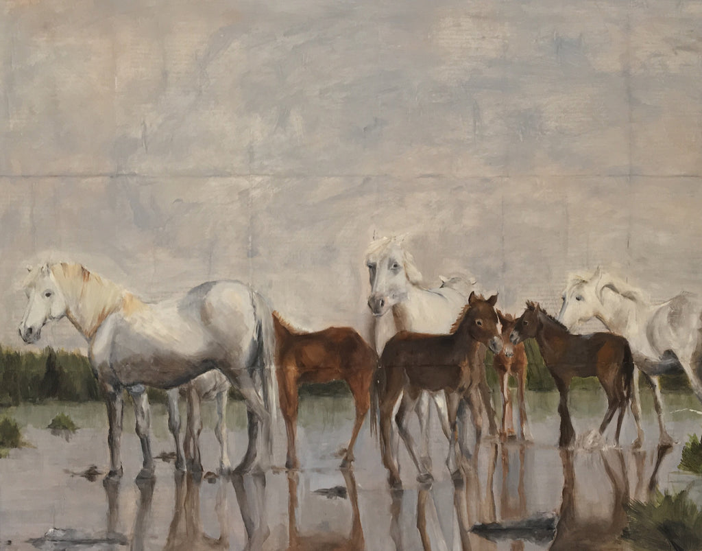 Original mixed media of a herd of Camarguais wild horses being still in the shallow water of the Camargue.