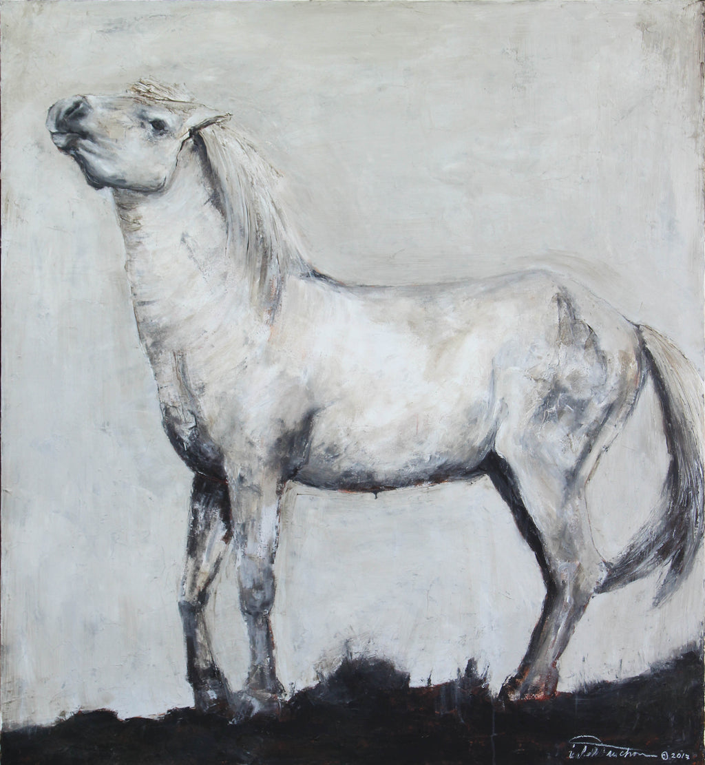Stunning and highly textured piece depicting a posturing stallion Camarguais horse. Neutral tones of gray and white with a touch of dirtied burnt umber and rich alsphaltum hues