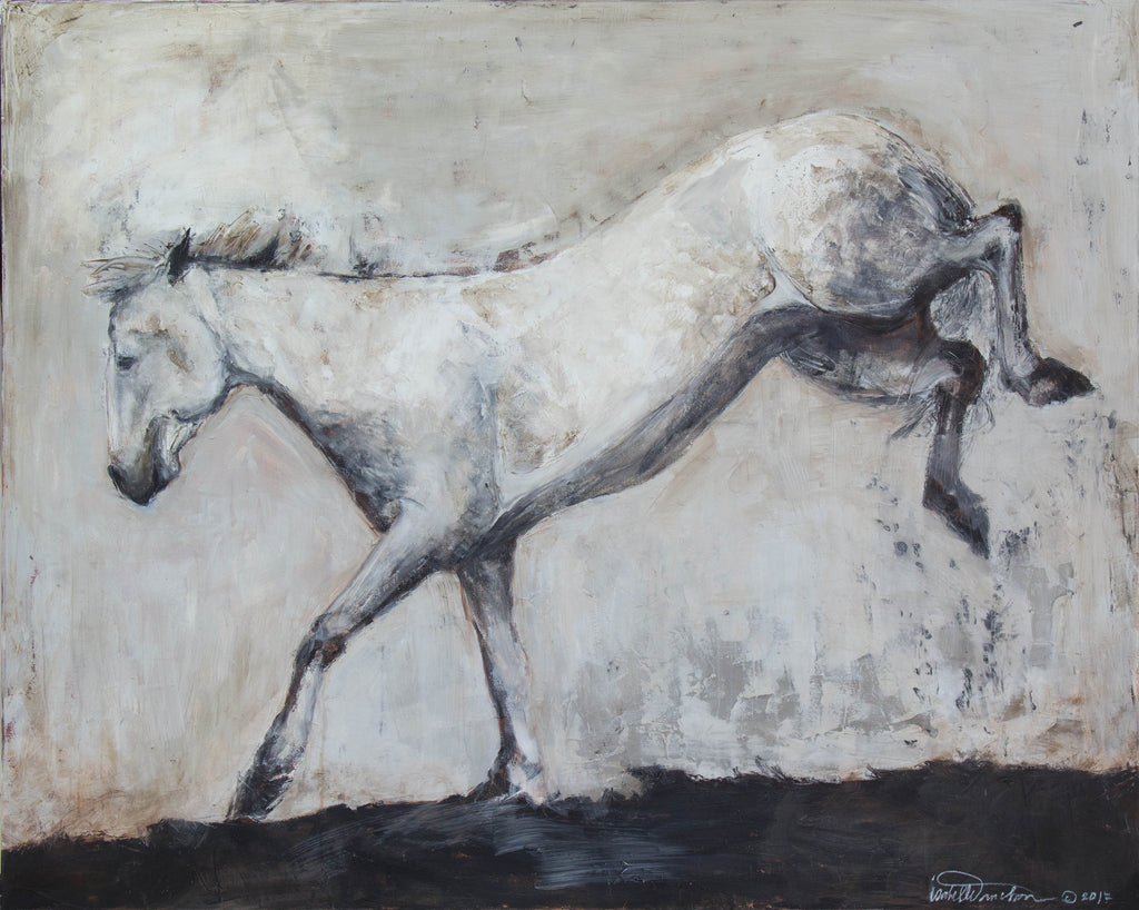 Stunning and highly textured piece depicting a bucking young stallion Camarguais horse. This piece is related to Detail on Into the Morning Mist, and is the Into The Morning mist paintings. Neutral tones of gray and white with a touch of dirtied burnt umber and rich alsphaltum hues.
