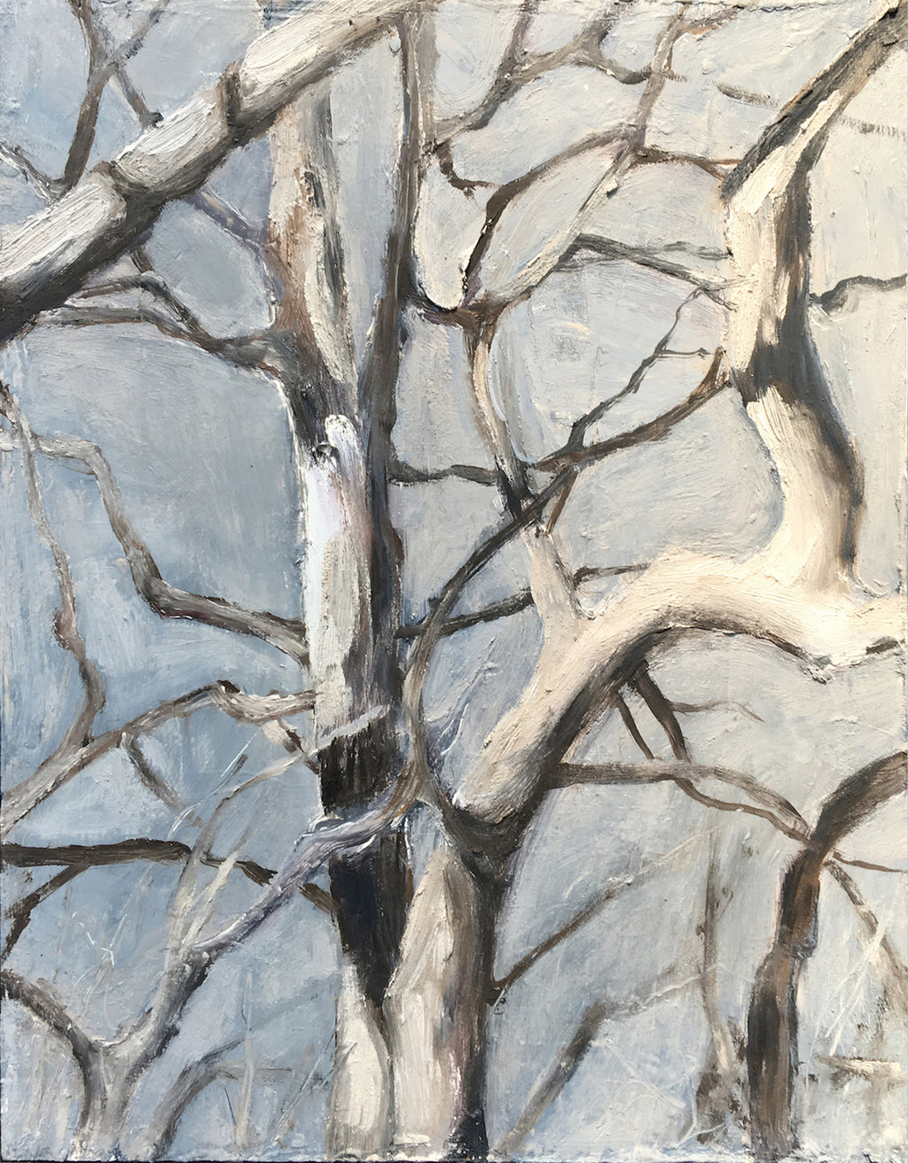An intimate observation of the mingling branches that weave together to form this delicate composition filled with movement and freedom. Third in a series of three vignettes painted from Isabelle's favorite old sycamore tree.