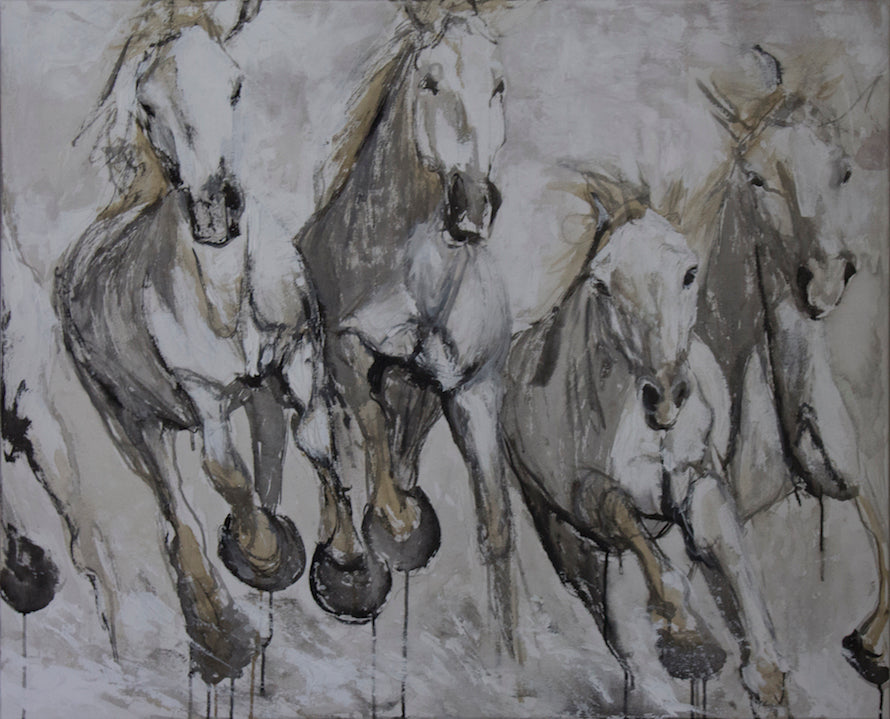 Herd of white horses galloping towards the viewer in an energetic exhilaration. A beautiful mixed media conversation piece that makes any environment subtly spirited.