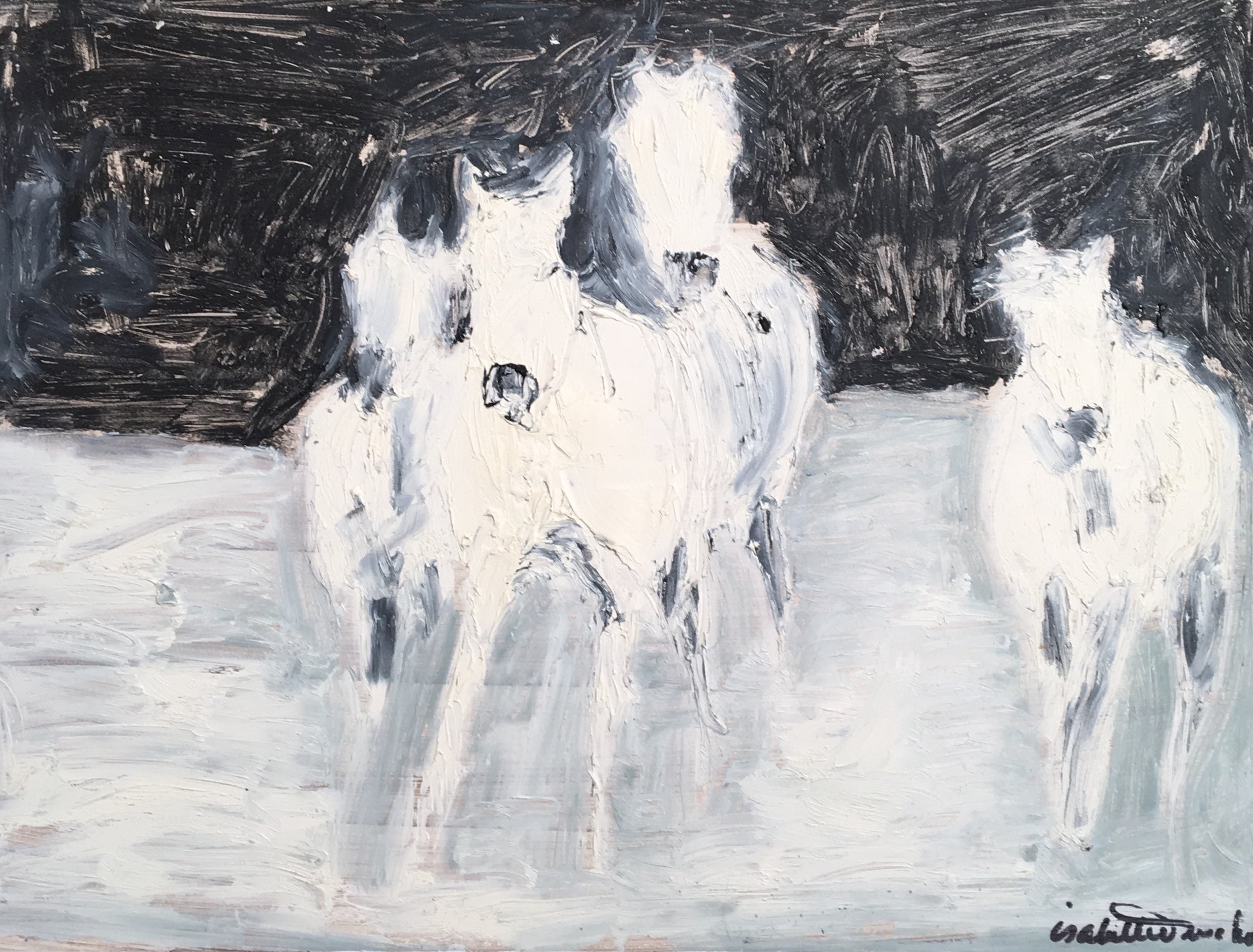 Inspired by the beautiful horses of the Camargue, this highly textured oil original exudes energy in abstraction of the horse form galloping in the waters of the Rhone delta. Third in a series of three.