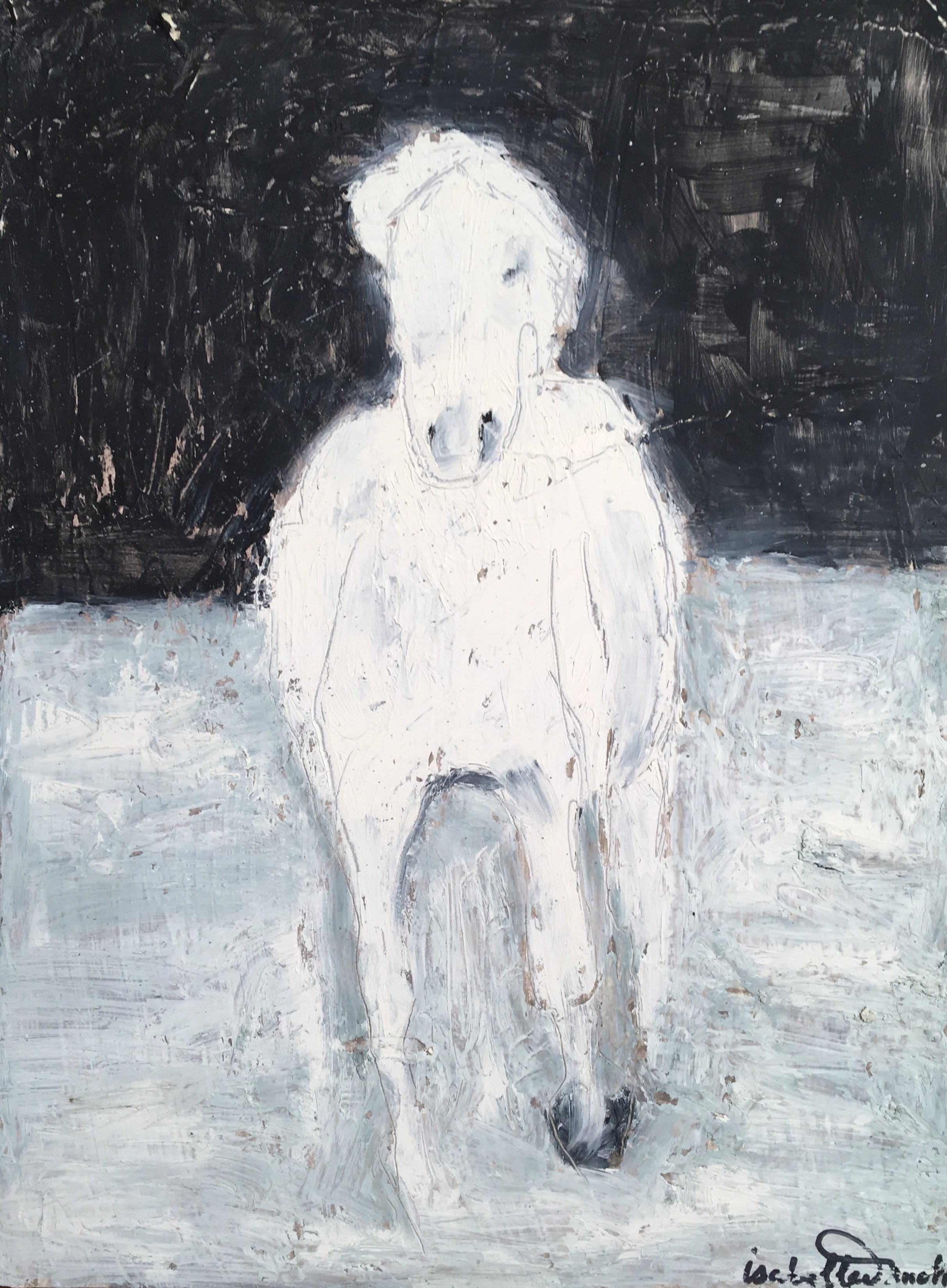 Inspired by the beautiful stallion of the Camargue, this oil original exudes energy in abstraction of the horse form galloping in the waters of the Rhone delta.