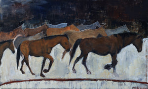 The wild horse herd of the Steens Mountain Wilderness. Kiger mustangs, beautiful and pure. A heavily textured piece making a strong impression in a space.